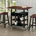 4D Concepts 3-piece Phoenix Wheeled Kitchen Island & Stool Set