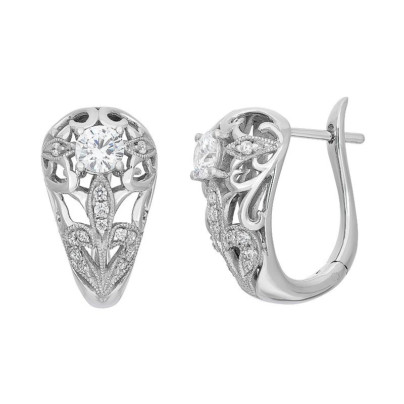 White Gold Filigree Hoop Earrings White Gold Flower u Hoop