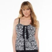 A Shore Fit Tummy Slimmer Printed Flyaway Tankini Top - Women's Plus Size