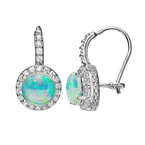 Sophie Miller Lab-Created Opal & Cubic Zirconia Sterling Silver Halo Drop Earrings