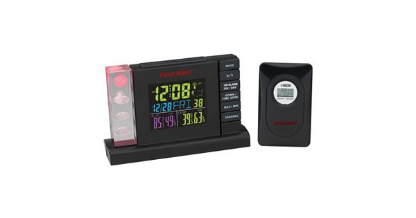 first alert radio controlled weather station alarm clock. Black Bedroom Furniture Sets. Home Design Ideas