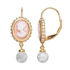 Sophie Miller Simulated Pearl & Cubic Zirconia 14k Gold Over Silver Cameo Drop Earrings