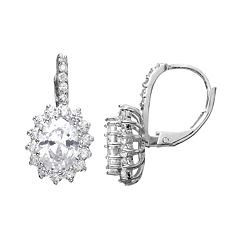 Sophie Miller Cubic Zirconia Sterling Silver Flower Halo Drop Earrings