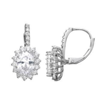 Sophie Miller Cubic Zirconia Sterling Silver Flower Halo Drop Earrings