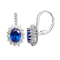 Sophie Miller Sterling Silver Simulated Sapphire & Cubic Zirconia Flower Halo Drop Earrings