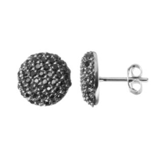 Sophie Miller Black Cubic Zirconia Black-Rhodium Plated Sterling Silver Button Stud Earrings