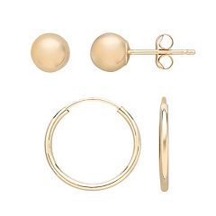 Everlasting Gold 10k Gold Ball Stud & Endless Hoop Earring Set