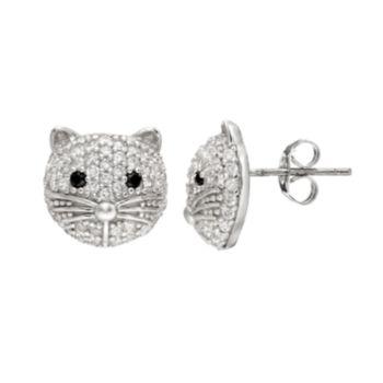 Sophie Miller Cubic Zirconia Sterling Silver Cat Stud Earrings