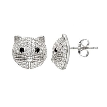 Sophie Miller Cubic Zirconia Sterling Silver Cat Stud Earrings