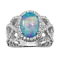 Sophie Miller Lab-Created Blue Opal & Cubic Zirconia Sterling Silver Halo Openwork Ring