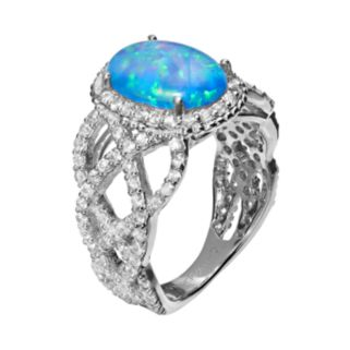 Sophie Miller Lab-Created Blue Opal and Cubic Zirconia Sterling Silver Halo Openwork Ring