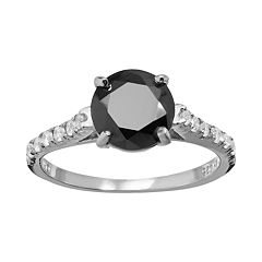 Sophie Miller Black & White Cubic Zirconia Sterling Silver Ring