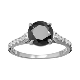 Sophie Miller Black and White Cubic Zirconia Sterling Silver Ring