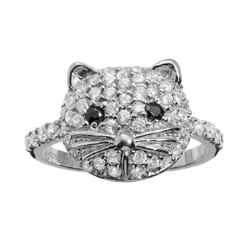 Sophie Miller Cubic Zirconia Sterling Silver Cat Ring