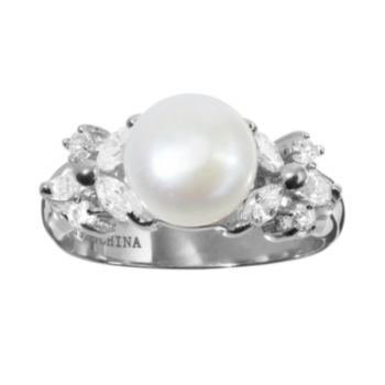 Sophie Miller Freshwater Cultured Pearl and Cubic Zirconia Sterling Silver Ring