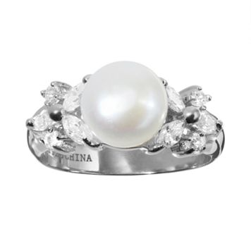 Sophie Miller Freshwater Cultured Pearl & Cubic Zirconia Sterling Silver Ring