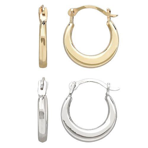 Everlasting Gold 10k Gold Hoop Earring Set