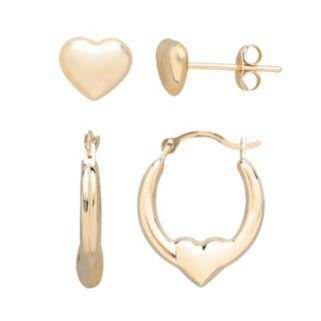 Everlasting Gold 10k Gold Heart Stud and Hoop Earring Set