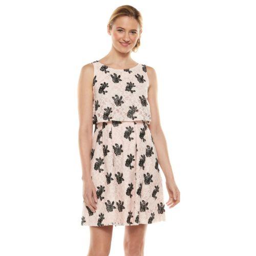 ELLE? Embroidered Lace Popover Dress - Women's