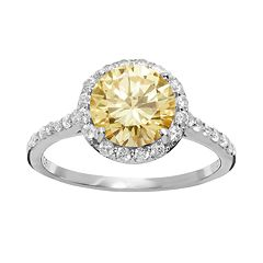 Sophie Miller Canary & White Cubic Zirconia Sterling Silver Halo Ring