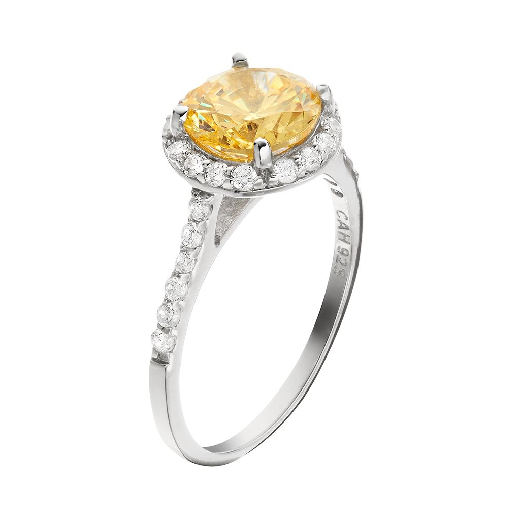 Sophie Miller Canary and White Cubic Zirconia Sterling Silver Halo Ring