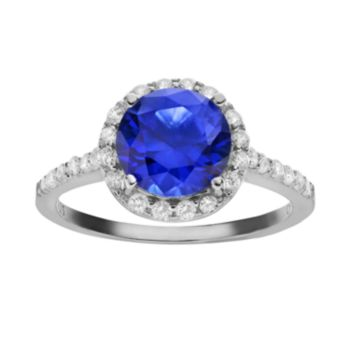 Sophie Miller Simulated Blue Sapphire and Cubic Zirconia Sterling Silver Halo Ring