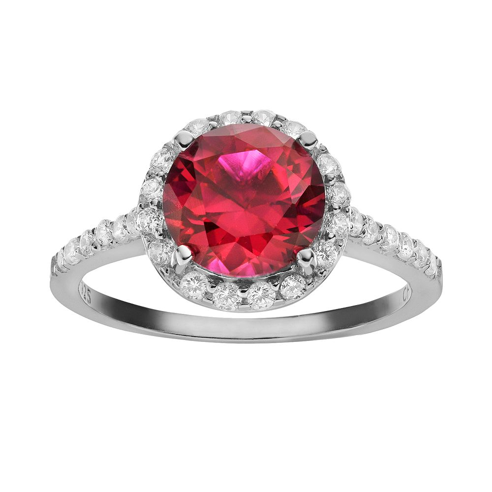 Sophie Miller Lab-Created Ruby & Cubic Zirconia Sterling Silver Halo Ring