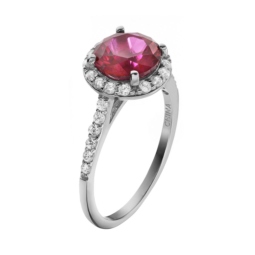 Sophie Miller Lab-Created Ruby and Cubic Zirconia Sterling Silver Halo Ring