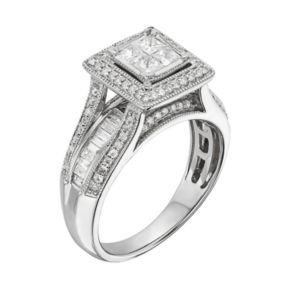 Diamond Square Halo Engagement Ring in 10k White Gold (1 Carat T.W.)