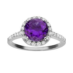 Sophie Miller Purple & White Cubic Zirconia Sterling Silver Halo Ring