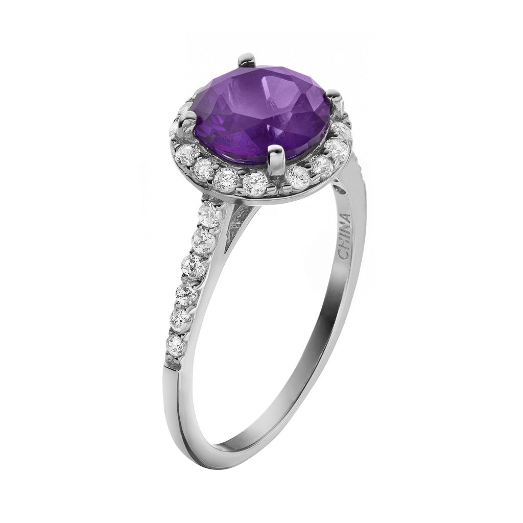Sophie Miller Purple and White Cubic Zirconia Sterling Silver Halo Ring