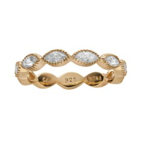 Sophie Miller Cubic Zirconia 14k Gold Over Silver Scalloped Ring
