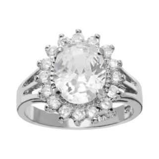 Sophie Miller Cubic Zirconia Sterling Silver Flower Halo Ring