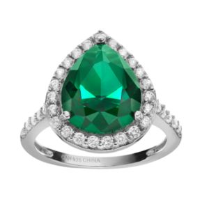 Sophie Miller Simulated Emerald and Cubic Zirconia Sterling Silver Halo Ring