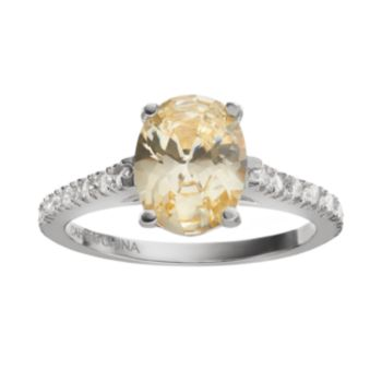 Sophie Miller Canary and White Cubic Zirconia Sterling Silver Ring