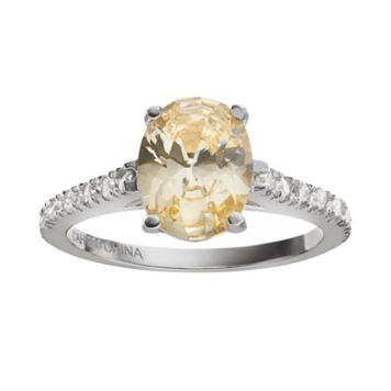 Sophie Miller Canary & White Cubic Zirconia Sterling Silver Ring