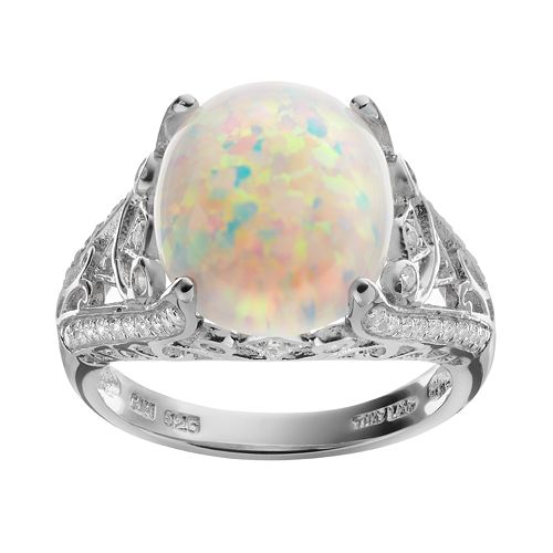 Sophie Miller Lab-Created Opal & Cubic Zirconia Sterling Silver Openwork Ring