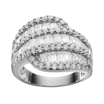 Sophie Miller Tapered Cubic Zirconia Baguette Sterling Silver Ring