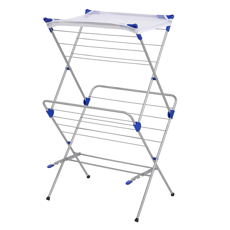 Honey-Can-Do 2-Tier Mesh Top Drying Rack, Adult Unisex, Size: DRY RACK, Grey Properly care for your clothes with the help of this Honey-Can-Do mesh top drying rack. In satin nickel.FEATURES 42''H x 24''W x 17''D Provides up to 33' of drying space Mesh shelf for drying sweaters & delicates Sturdy, rust-resistant steel frame Folds flat for easy storage CONSTRUCTION & CARE Steel Wipe clean Manufacturer's lifetime limited warrantyFor warranty information please click here  Size: DRY RACK. Color: Grey. Gender: unisex. Age Group: adult. Material: Metal.