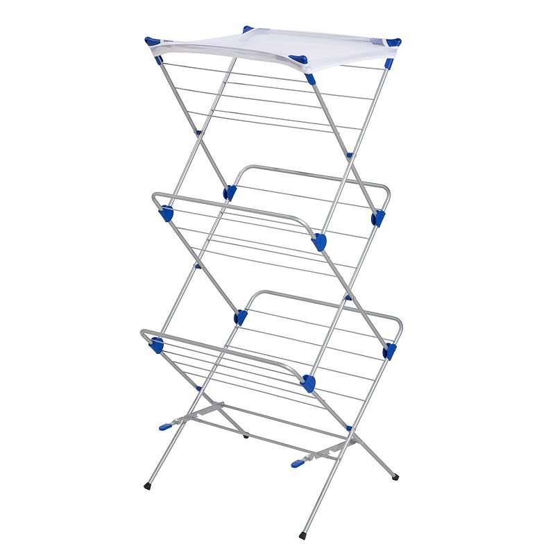 Honey-Can-Do 3-Tier Mesh Top Drying Rack, Adult Unisex, Size: DRY RACK, Grey Save wear and tear on your threads with this Honey-Can-Do mesh top drying rack. In satin nickel.FEATURES 59''H x 24''W x 17''D Provides up to 48' of drying space Mesh shelf for drying sweaters & delicates Sturdy, rust-resistant steel frame Folds flat for easy storage CONSTRUCTION & CARE Steel Wipe clean Manufacturer's lifetime limited warrantyFor warranty information please click here  Size: DRY RACK. Color: Grey. Gender: unisex. Age Group: adult. Material: Metal.