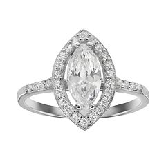 Sophie Miller Sterling Silver Cubic Zirconia Halo Ring