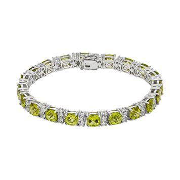 Peridot & White Topaz Sterling Silver Tennis Bracelet