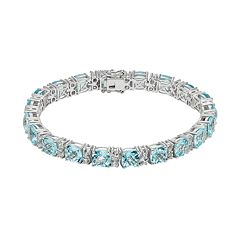 Blue & White Topaz Sterling Silver Tennis Bracelet