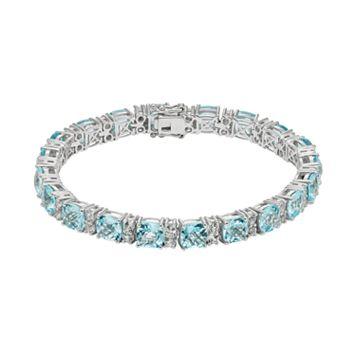 Blue & White Topaz Sterling Silver Tennis Bracelet