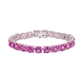Lab-Created Pink Sapphire Sterling Silver Tennis Bracelet