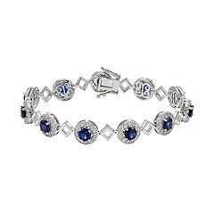 Lab-Created Blue & White Sapphire Sterling Silver Halo Bracelet