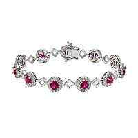 Lab-Created Ruby & Lab-Created White Sapphire Sterling Silver Halo Bracelet