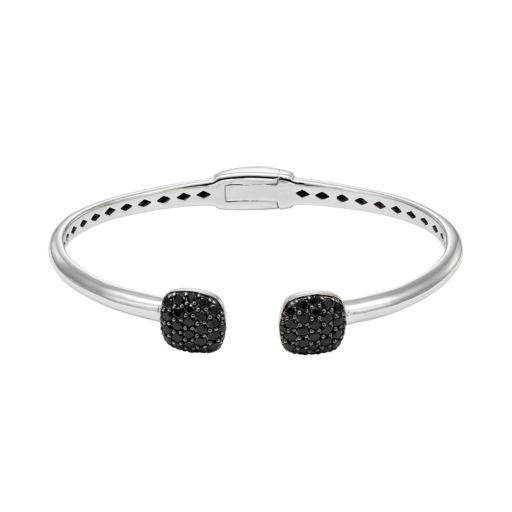 Black Spinel Sterling Silver Hinged Cuff Bracelet
