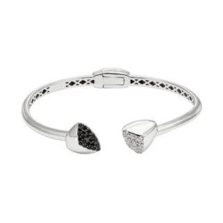 Black Spinel & White Topaz Sterling Silver Hinged Cuff Bracelet
