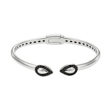 Black Spinel Sterling Silver Teardrop Hinged Cuff Bracelet